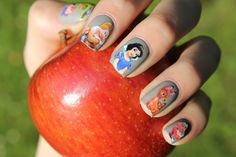 Snow White nails for the princess who has a way with animals of the forest. #nailart #snowwhite #nailpolish