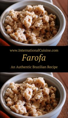 Farofa is a toasted manioc flour that is cooked up with some onions. Brazilians love to put this addictive, gritty topping on all sorts of things.  A must when enjoying the national dish called feijoada.  Get the easy recipe and be sure to join the culinary journey when you stop by.