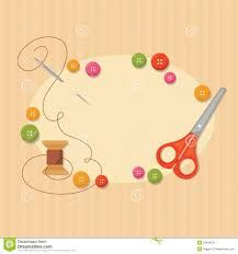 Illustration about Frame with sewing items: scissors, spool, needle with thread and colored buttons. Illustration of needlework, sewing, items - 29948875 Sewing Cards, Sewing Box, Love Sewing, Cute Crafts, Diy And Crafts, Paper Crafts, Sewing Clipart, Quilt Labels, Picture Logo