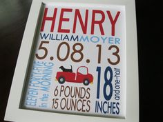 Baby Boy Nursery Decor Kids Wall Art Birth Print Dog Truck 8 x 10 HENRY via Etsy