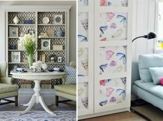 Wallpaper is an easy, economical way to add pattern to your home. Used on one wall as an accent, behind shelving, or even on the front of . Shelving, Gallery Wall, Cabinet, Wallpaper, Storage, Frame, Creative, Pattern, House