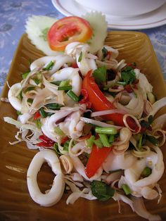 Centuries Old Asian Cooking Recipes, Written For The Modern Man.: How to Make Thai Yum Pla Muk - Squid Salad Asian Cooking Recipe Cuisine Squid Recipes, Seafood Recipes, Cooking Recipes, Thai Seafood Salad Recipe, Thai Street Food, Asian Recipes, Healthy Recipes, Laos Recipes, Savoury Recipes