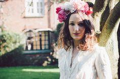 Pretty in Pink flower Headband,  Pink, white, fashion, bridal, wedding, festival, boho, headress, via Etsy
