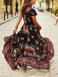 61c7858a6982 Multicolor V-neck Floral And Peacock Print Cap Sleeve Maxi Dress