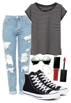 """""""Ripped Jeans For Dayzz"""" by madison-taylor-73 on Polyvore featuring Topshop, MANGO, Converse, Smashbox, Revo and TomTom"""