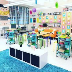 Love the bright colors, open spaces, and organization in this classroom! What a … Love the bright colors, open spaces, and organization in this classroom! What a fun place to learn!