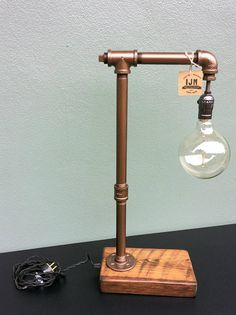 Items similar to Industrial Lamp / Edison Lamp / Pipe Lamp / Steampunk / Distressed Copper / Tesla Lamp / Desk Lamp / Edison Light / Home Decor on Etsy Pipe Lighting, Edison Lighting, Rustic Lighting, Lampe Edison, Edison Bulbs, Lampe Steampunk, Lampe Metal, Creation Deco, Desk Light