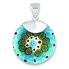 Sterling Silver Blue & Green Glass Polished Fancy Round Pendant