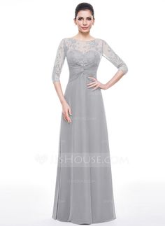 A-Line/Princess Scoop Neck Floor-Length Chiffon Lace Mother of the Bride Dress With Ruffle Beading Sequins (008056169)