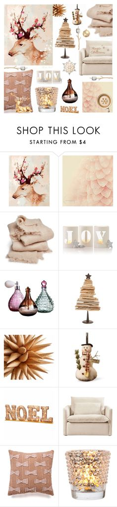 """""""A little bit of Christmas Magic in Vintage Pink"""" by theseapearl ❤ liked on Polyvore featuring interior, interiors, interior design, home, home decor, interior decorating, abcDNA, Mark & Graham, GE and National Tree Company"""