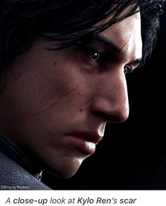A close-up look at Kylo Ren's scar from the Battlefront 2 promo art
