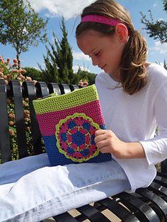 Crochet book cover, crochet book cozy, crochet motif, crochet mandala, crochet pattern by April Garwood of Banana Moon Studio.