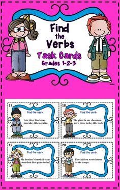 32 Task Cards - Identifying Verbs Grades 1-2-3