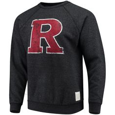 Men's Original Retro Brand Heathered Black Rutgers Scarlet Knights School Logo Tri-Blend Pullover Sweatshirt, Size: Large, RUT Black