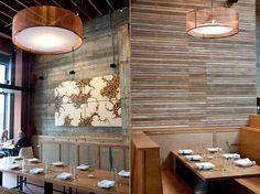 lath wall restaurant accent wall | agueg morris architects
