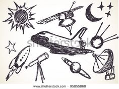hand-drawn space symbols by Nucleartist, via Shutterstock