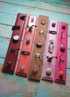 Storage knob Displays in Pinks, Red, Coral, and Shabby Chic Wood Diy Jewelry Holder, Hanging Jewelry Organizer, Jewelry Hanger, Jewelry Chest, Diy Purse Hanger, Necklace Holder, Jewelry Box, Jewellery Storage, Jewellery Display