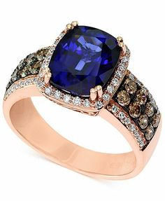 Velvet Bleu by EFFY Manufactured Diffused Sapphire (3-7/8 ct. t.w.) and Diamond (3/4 ct. t.w.) Ring in 14k Rose Gold