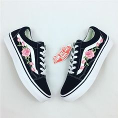 Rose Vans Custom Vans Rose Embroidered Vans Women's Sneakers Old Skool... ($104) ❤ liked on Polyvore featuring shoes, sneakers, pink, sneakers & athletic shoes, women's shoes, embroidered shoes, unisex shoes, rose shoes, pink shoes and rosette shoes