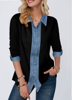 Womens Casual Tops Roll Tab Sleeve Turndown Collar Button Up Shirt Trendy Tops For Women, Blouses For Women, Collar Shirts, Shirt Blouses, Casual Outfits, Fashion Outfits, Women's Fashion, Shirt Sleeves, Shirt Style