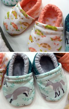 Robin made me these baby shoes using my Les Amis fabrics... Love! There's a free pattern and tutorial on the Michael Miller blog. :)