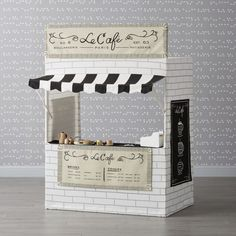 Shop Snack Shack Playhouse. A tasty pick for growing foodies, this restaurant playhouse features two sets of signs, so it converts into a BBQ joint or a coffee shop in a snap. With menus, illustrated ads and signs, you can consider it fully stocked.