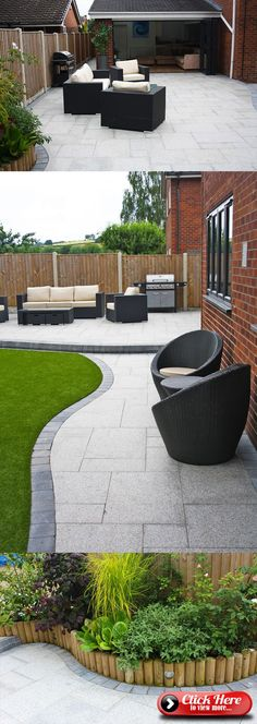 Patio stones - Stunning modern patio Birch Granite Paving Contemporary Garden Wicker Furniture Landscaping Garden Seating Installation completed by A Ward Landscapes Modern Landscape Design, Modern Garden Design, Modern Landscaping, Landscaping Ideas, Modern Design, Garden Patio Designs, Court Yard Garden Ideas, Backyard Landscape Design, Diy Garden