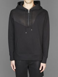 Neil Barrett hoodie with half zip two pockets and inserts #neilbarrett