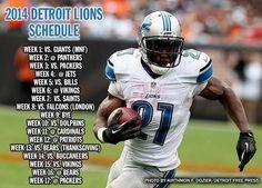 Detroit Lions Schedule 2014