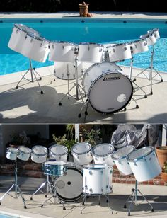 Bermuda Schwartz's vintage Ludwig Vistalite monster kit with one-headed concert toms