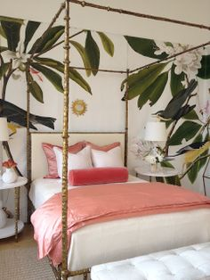 {Stroke of Luxe}: Vacation Inspiration, Brass Canopy Bed and Pink Bedding with Oversize Wallpaper Print of Birds and Green Branches
