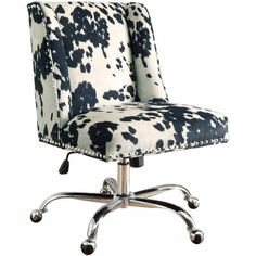 Linon Draper Black Udder Madness Transitional Desk Chair at Lowe's. Add style and function to your office with the Draper office chair. The soft, plush frame is upholstered in a black cow print fabric and features a square Black Office Chair, Swivel Office Chair, Executive Office Chairs, Home Office Chairs, Home Office Furniture, Office Spaces, Office Desks, White Office, Black Desk