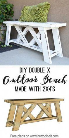 Build a cute little DIY outdoor bench for your porch or entry. Build a cute little DIY outdoor bench for your porch or . Diy Bank, Diy Holz, Diy Décoration, Woodworking Bench, Fine Woodworking, Small Woodworking Projects, Woodworking Logo, Woodworking Classes, Popular Woodworking