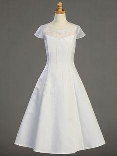 White Satin A-line Communion Dress w/Beadwork. I like the simple elegant look