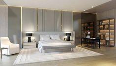papier peint gris, lit design, literie blanc neige, tapis assorti et sol en parquet massif