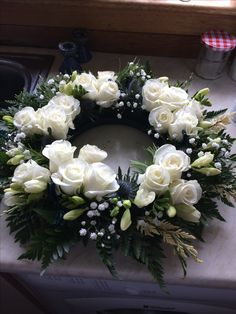 Scottish funeral wreath with roses and freesia The Effective Pictures We Offer You About funeral dress A quality picture can tell you many things. You can find the most beautiful pictures that can be Arrangements Funéraires, Funeral Floral Arrangements, Beautiful Flower Arrangements, Beautiful Flowers, Beautiful Pictures, Funeral Bouquet, Funeral Flowers, Funeral Dress, Funeral Outfit