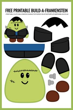 Use this free printable paper Frankenstein template to build-a-monster for Halloween! This craft helps children improve their cutting and pasting skills. Printable Halloween Decorations, Halloween Paper Crafts, Paper Crafts For Kids, Printable Crafts, Halloween Activities, Cute Halloween, Free Printables, Toddler Crafts, Preschool Crafts
