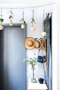 hanging roses in the entryway