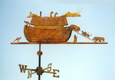 "Noah's Ark with Animals Weathervane  by West Coast Weather Vanes.  The original Noah's Ark weathervane was commissioned by a couple in Oregon whose seven year old son's name was Noah. Their son picked out the animals he wanted to see loading onto the Ark. We also put an inscription on the weathervane that said NOAH'S ARK and included a ""lucky"" penny from the year of his birth inside the weathervane."
