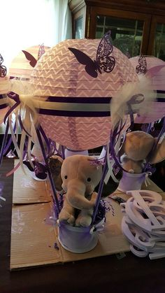 Baby shower idea...Elephants and butterflies in gray and purple.