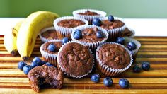 Double Chocolate Banana Blueberry Muffins