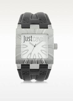 JUST CAVALLI Timesquare 3H Silver Dial Black Strap Men'S Watch. #justcavalli #timesquare 3h silver dial black strap men's watch