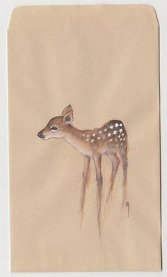 Fawn drawn on brown paper