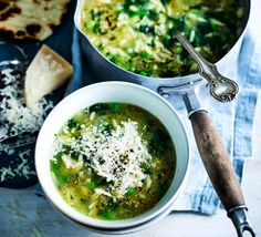 A generous grating of parmesan balances the citrus in this fresh, healthy pesto soup. A simple veggie supper you can serve with fluffy garlic flatbreads