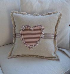 Heart Pillow Grain Sack Pillow Ticking Heart Frayed Edge Pillow Sham Custom Sizes and Fabrics Insert Pumpkin Pillows, Burlap Pillows, Sewing Pillows, Decorative Pillows, Throw Pillows, Heart Cushion, Heart Pillow, Neck Pillow, Fabric Crafts