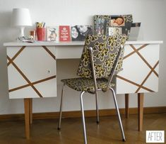 brilliant redesign of thrift store find desk -- taped, then painted -- at design sponge