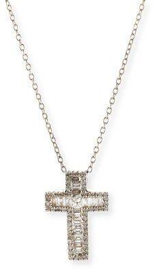 Bessa 18K White Gold Baguette Diamond Cross Pendant Necklace