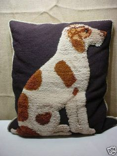 Vintage Fox Terrier Stump Wool Work Dog Needlepoint Pillow #laylagrayce #bunnywilliamshome