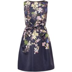 Ted Baker Nillye Botanical Trail Bow Dress, Navy ($260) ❤ liked on Polyvore featuring dresses, long-sleeve mini dress, sleeveless maxi dress, blue floral dress, floral print maxi dress and maxi dresses