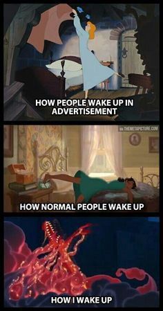 How Disney princesses wake up meme. Here are the best funny Disney memes that in. - Best of Memes Humour Disney, Funny Disney Memes, Disney Jokes, Funny Relatable Memes, Funny Jokes, Funniest Memes, That's Hilarious, Hilarious Quotes, Funny Comedy